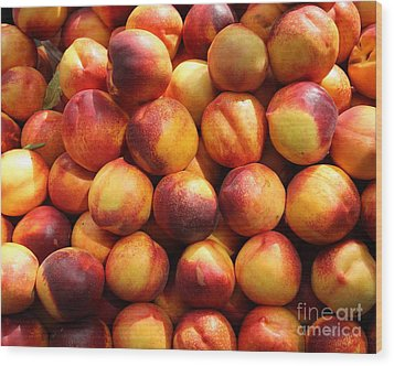 Fresh Nectarines - 5d17815 Wood Print by Wingsdomain Art and Photography