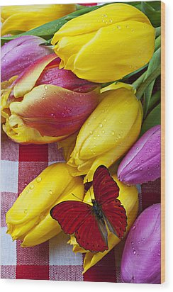 Fresh Tulips And Red Butterfly Wood Print by Garry Gay