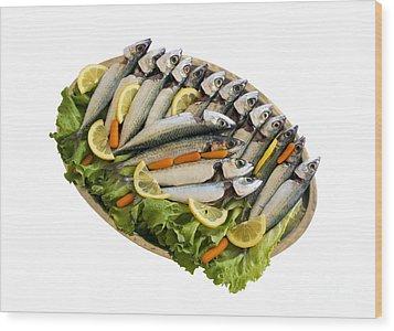 Fresh Uncoocked Fish Wood Print by Soultana Koleska