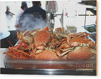 Freshly Cooked Steaming Hot Dungeness Crabs At Fishermans Wharf . San Francisco California . 7d14461 Wood Print by Wingsdomain Art and Photography