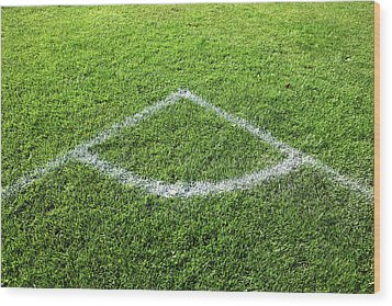 Freshly Painted Corner Area On Grass Wood Print by Richard Newstead