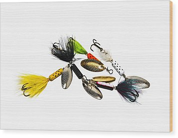 Wood Print featuring the photograph Freshwater Fishing Lures by Susan Leggett