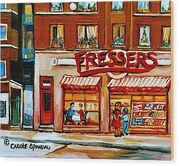 Fressers Deli Decarie Boulevard Montreal City Scenes Wood Print by Carole Spandau