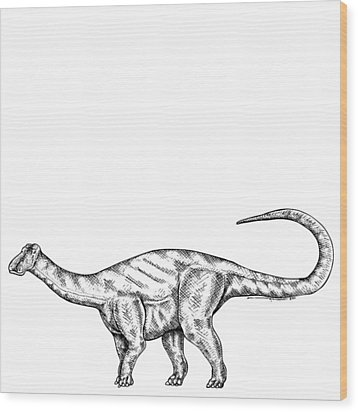 Friendlysaurs - Dinosaur Wood Print by Karl Addison