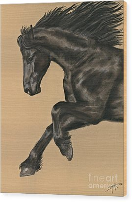 Wood Print featuring the painting Friesian Portrait by Sheri Gordon