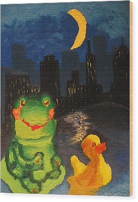 Wood Print featuring the painting Frog And Duck Go To The Bog City By Way Of The Lake by M Zimmerman