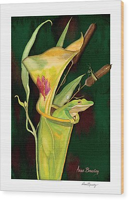 Wood Print featuring the painting Frog In Green Pitcher Plant by Anne Beverley-Stamps