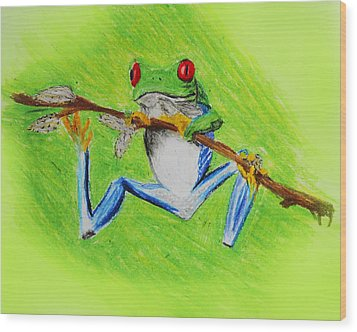 Frog Wood Print by Serene Maisey