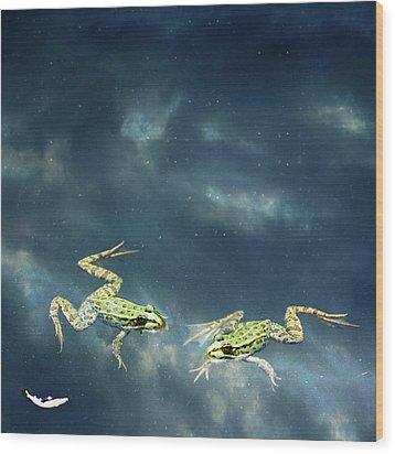 Frogs Wood Print by Christiana Stawski