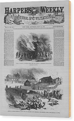 Front Page Of A Newspaper Reports Wood Print by Everett