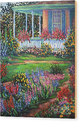Front Porch And Flower Gardens Wood Print by Glenna McRae