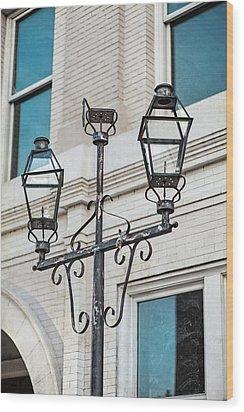Front Street Lamp Wood Print by Brenda Bryant