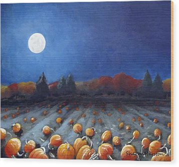 Frosty Harvest Moon Wood Print by Sharon Marcella Marston