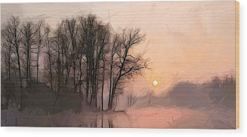Frosty Morning At The Lake Wood Print by Steve K