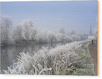 Frosty Morning Landscape Wood Print by Andrew  Michael