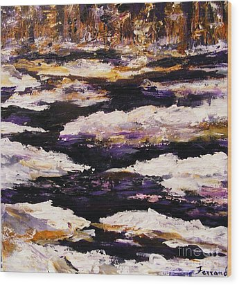 Wood Print featuring the painting Frozen River by Karen  Ferrand Carroll