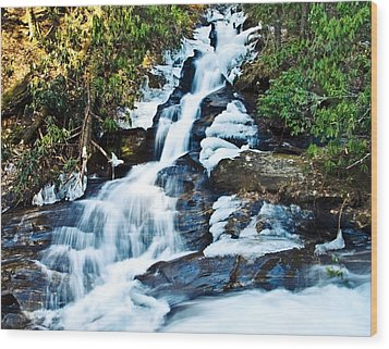 Wood Print featuring the photograph Frozen Waterfall by Susan Leggett