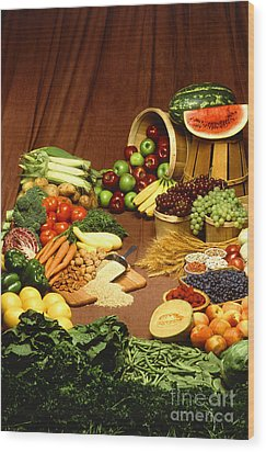 Fruit And Grain Food Group Wood Print by Photo Researchers