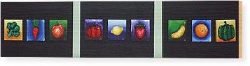 Fruit And Veggies Wood Print by Alison  Galvan