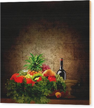 Fruit And Wine Wood Print by Lourry Legarde