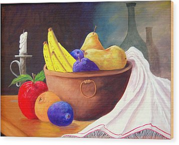 Fruit Bowl By Candle Wood Print by Janna Columbus