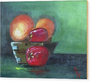 Fruit In A Bowl Wood Print