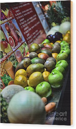 Fruit Stand Wood Print by Paul Ward