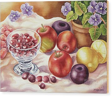 Fruits And Berries Wood Print by Inese Poga