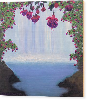 Wood Print featuring the painting Fuchsia Falls by Janet Greer Sammons