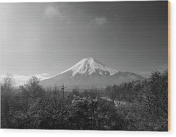 Fujisan Injapan Wood Print by B&W landscape street