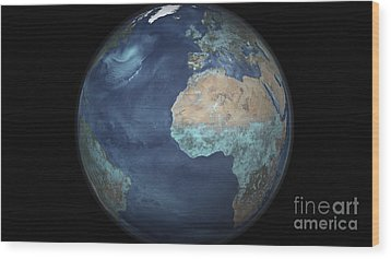 Full Earth Showing Evaporation Wood Print by Stocktrek Images