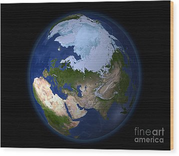 Full Earth Showing The Arctic Region Wood Print by Stocktrek Images