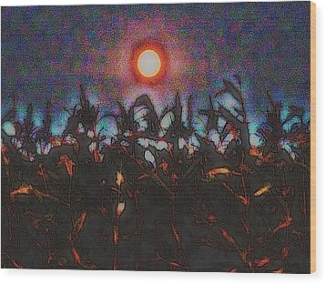 Full Harvest Moon Iowa Wood Print
