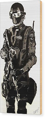 Full Length Figure Portrait Of Swat Team Leader Alpha Chicago Police In Full Uniform With War Gun Wood Print by M Zimmerman MendyZ