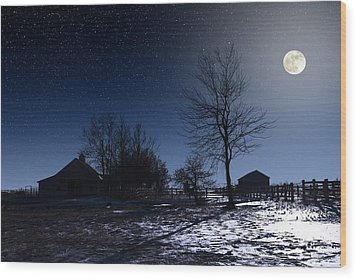 Full Moon And Farm Wood Print