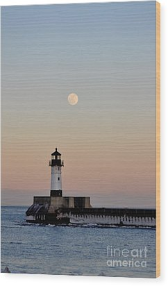 Full Moon Light Wood Print by Whispering Feather Gallery