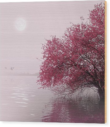 Full Moon On The Lake Wood Print by Philippe Sainte-Laudy Photography