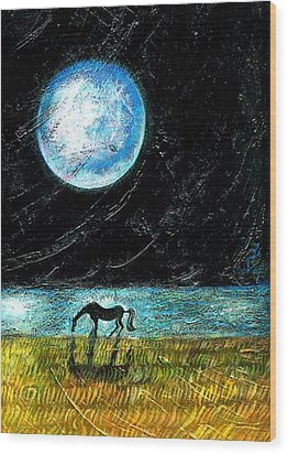Full Moon On The Seashore Wood Print by Ion vincent DAnu