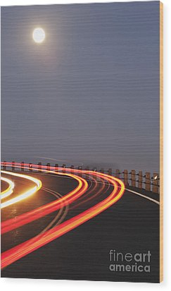 Full Moon Over A Curving Road Wood Print by Jetta Productions, Inc