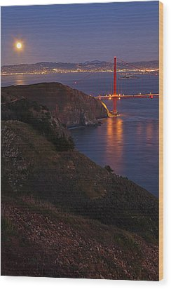 Full Moon Over Golden Gate Bridge Wood Print by Photo by Mike Shaw