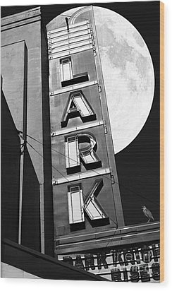 Full Moon Over The Lark - Larkspur California - 5d18489 - Black And White Wood Print by Wingsdomain Art and Photography