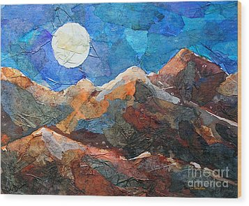 Full Moon Over The Sierras Wood Print by Li Newton