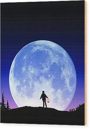 Full Moon Rising Wood Print by David Nunuk