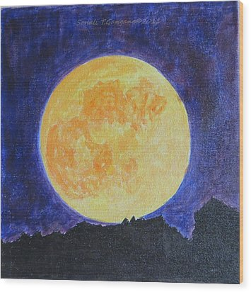 Wood Print featuring the painting Full Moon by Sonali Gangane