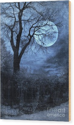 Full Moon Through Bare Trees Branches Wood Print by Jill Battaglia