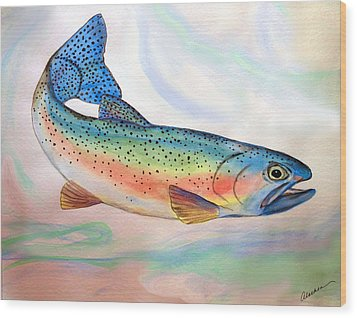 Wood Print featuring the painting Full On Trout by Alethea McKee