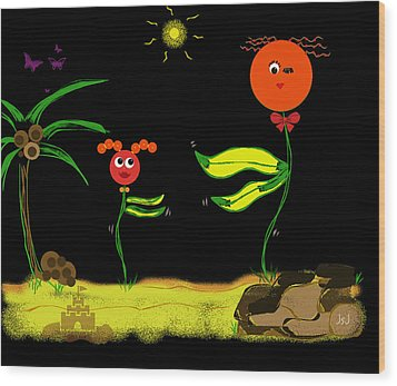 Funky Flowers Dance In The Sun  Wood Print by Jan Steadman-Jackson