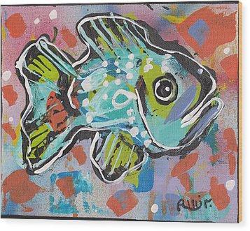 Funky Folk Fish 2012 Wood Print by Robert Wolverton Jr