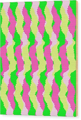Funky Stripes Wood Print by Louisa Knight