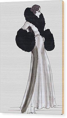 Fur Coat Wood Print by Mel Thompson